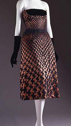 50s cocktail dress strapless brown bronze black satin velvet Christian Dior, 1950-1951 | The Met
