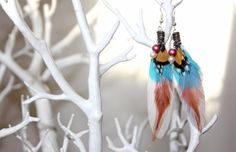 Pink feathers and blue feathers dangle feather by FeatherDeep, £14.00
