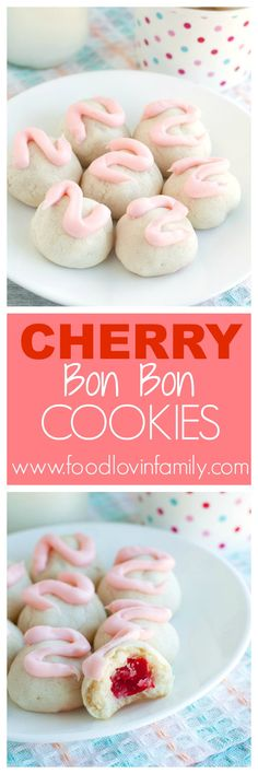 Cherry bon bon cookies are a sweet bite of yum! Shortbread cookie wrapped around a cherry and topped with cherry frosting. These little cookies are always a big hit. |cherry cookies|cookies|valentines day http://www.foodlovinfamily.com/cherry-bon-bon-cookies/
