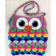 Colorful Owl Purse using crocodile or mermaid tears stitch- free crochet pattern at Yarns Truly