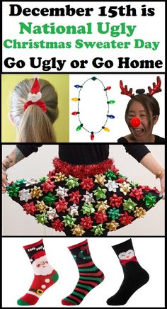 December 15, 2017 is National Ugly Christmas Sweater Day #ChristmasSweaterDay. Cute ideas for accessories for your Ugly Christmas Sweater Outfit!