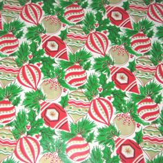 This listing is for one sheet of vintage gift wrap paper. The sheet is approximately 30 by Paper features a red and gold ornaments on a green evergreen background. This paper would be great for gift wrapping, party decor, or other paper crafts. Christmas Hanukkah, Christmas Paper, Christmas Gifts, Christmas Ornaments, Gold Ornaments, Christmas Patterns, Merry Christmas, Holiday, Vintage Christmas Wrapping Paper