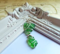Dangle natural GREEN sea glass necklace statement pendant - Chain necklace - Girlfriend gift anniversary necklace wedding gift for her by FoxJewelleryShop on Etsy