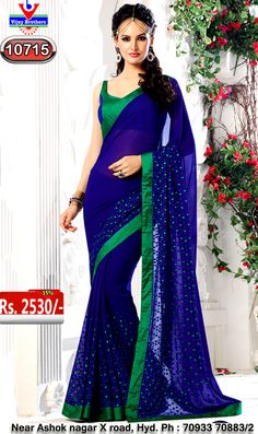Georgette with blue colour