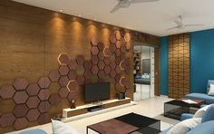 Dr Akash's Residence - Pavan InfratechA Strong character – Pavan Infratech Modern Tv Wall Units, Living Design, Bedroom Design, Lcd Panel Design, Living Room Designs, Drawing Room Interior, Tv Room Design, Wall Design, Beautiful Living Rooms Decor