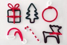 Addobbi natalizi in fil di ferro ricoperti in maglia di lana di Laboratoriografico su Etsy