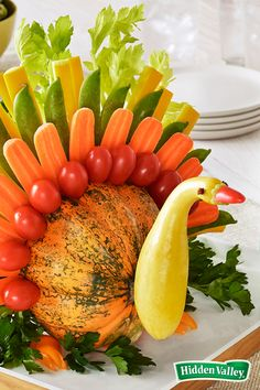 Involve the kids in making this 5-step veggie turkey, an appetizer vegetable platter that's also a festive Thanksgiving centerpiece. Add some dip, and you'll be sure to keep everyone happy while they're waiting for the real bird to come out of the oven!