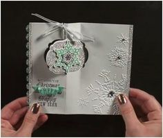 Thinlit Winter Card from Stampin' Up video. New Festive Flurry stamps and dies along with the Northern Flurries embossing folder. Stampin Up Christmas, Christmas Cards To Make, Xmas Cards, Holiday Cards, Christmas Post, Christmas Ideas, Flip Cards, Fancy Fold Cards, Folded Cards
