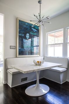 banquette seating in Lori and John's Functional Modern Home