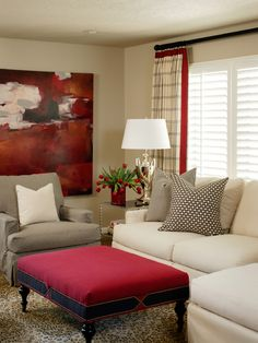 Living Room Decorating With Art Design, Pictures, Remodel, Decor and Ideas - page 11  ---Love this traditional living room with a very modern piece of art.-----