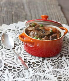 Sweet and Hearty Beef Stew with Mushrooms via @Meal Makeover Moms
