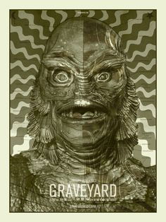 The Creature from the Black Lagoon; Horror Business Series by Brian Ewing Stoner Rock, Tour Posters, Band Posters, Music Posters, Film Posters, Scary Movies, Horror Movies, Frankenstein, Black Lagoon