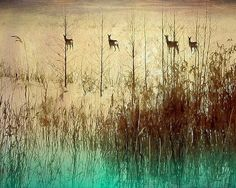 ARTFINDER: Grazing deer by Nadia  Attura - Grazing deer sunset in Norway, winter landscape print overlaid with sketch book designs.  This is a Fine Art photographic print, professionally hand printe...