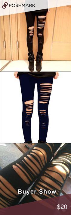Basic Strech Black Leggings Holes  Basic Strech Black Leggings Holes Ripped Leggings.Punk Rock Fashion Women Leggins Casual Jeggings Pants Leggings