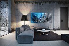 Art mural bleu abstrait peinture sur toile par largeartwork sur Etsy