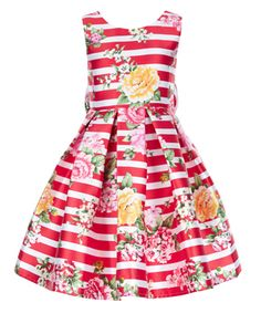 Our Susannah stripe party dress for girls is decorated with oversized blooms, and adorned with a back bow detail. This fully-lined piece is cut with a fitted bodice and a voluminous, tulle-lined skirt for extra twirliness. Features a side zip fastening.
