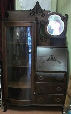 Oak Side-by Side secretary Secretary, Vintage Furniture, Picture Frames, Victorian, Cabinet, Pictures, Home Decor, Portrait Frames, Clothes Stand