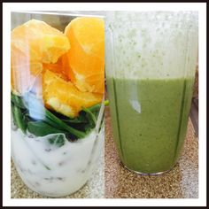 Go green!!  Green smoothie - yoghurt, walnuts, almonds, low fat milk, Chia, flax seeds, spinach and orange. Voila!!  Yummiest green ever!