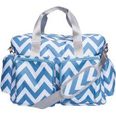 Blue and White Chevron Deluxe Duffle Diaper Bag