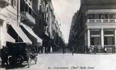 Sherif Basha Street (Alexandria, Egypt photographed in the 1880s - 1940s). Now Sherif Street, the building to the right of the image is the old Stock Exchange.