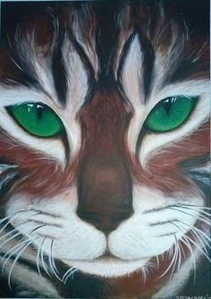 Emerald eyes, acryl op canvas, 70 x 50 cm Sarah Creek Art