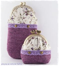 linen, lace and toile Vintage Purses, Vintage Handbags, Crochet Coin Purse, Frame Purse, Mini Purse, Purse Patterns, Fabric Bags, Little Bag, Handmade Bags