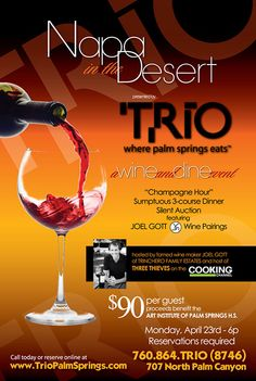 Joel Gott Wine Dinner at TRIO, Palm Springs. Benefits Art Institute of Palm Springs High School.