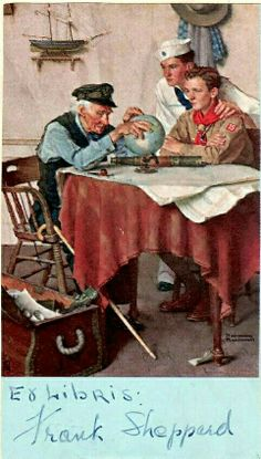 Norman Rockwell - Sea Scout and Boy Scout look at globe with old sailor. Norman Rockwell Prints, Norman Rockwell Paintings, The Saturdays, Scouts Of America, Boy Scouts, American Artists, Belle Photo, Mail Art, Retro