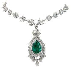 Estate Platinum, Emerald And Diamond Necklace