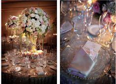 white and pink wedding centerpieces