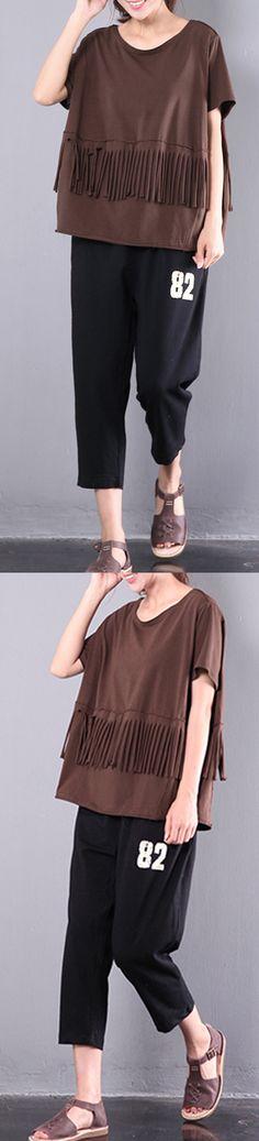 2017 chocolate cotton blouse casual tassel tops short sleeve t shirt