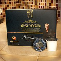 Organo Gold's Royal Brewed is a blend of Jamaica Blue Mountain coffee. It's for the discerning coffee drinker who enjoys a rich cup of coffee. Great to drink while reading the Sunday paper or lingering over a weekend breakfast.  12 BrewKups per box www.randkcafe.myorganogold.com