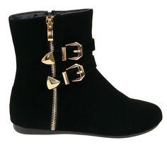 Klein-90 Black Gold Buckle Detail Flat Short Boots