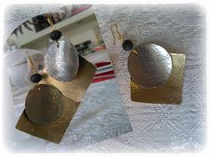 Wrought earings made of alpaca, bronze and  lava by evakijewls on Etsy