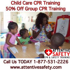 Attentive Safety CPR and Safety Training offers Child Care Group CPR classes 7 days a week at your location. Food Safety Training, Cpr Training, Paediatric First Aid, First Aid Cpr, American Red Cross, Child Care, Life Savers, Pre School, Pediatrics