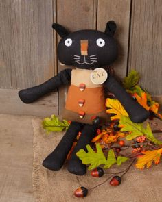 Primitive-Country-Halloween-Candy-Corn-Black-Cat-Doll
