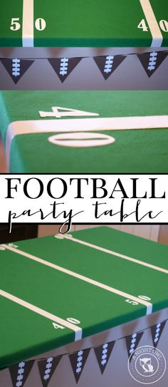 Easy Football Field Party Table - put together a fun football field table for your football or Superbowl party in just minutes with this how-to!