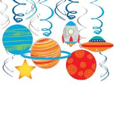 Bring outer space inside with these Blast Off Swirl Decorations! These swirl decorations come in metallic blue and silver with attached cardstock cutouts of planets, rockets, and stars. Astronaut Party, Astronaut Helmet, Outer Space Party, Kids Party Supplies, 1st Birthday Parties, Birthday Ideas, Birthday Lunch, Third Birthday, Themed Parties