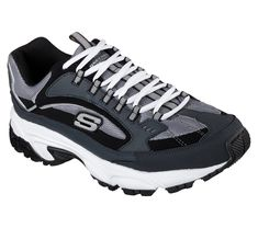 eb412319c89f4 A classic athletic trainer gets a comfort update in the SKECHERS Stamina -  Cutback shoe.