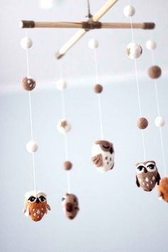Baby Mobile, Needle Felted Owl Mobile, Nursery Decor, Baby Shower Gift This cute baby mobile will be a lovely mobile for your baby and become