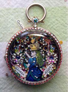 """Alice in Wonderland """"Queen Alice"""" micro-mosaic inside antique pocket watch case by artist Tracey Davis"""