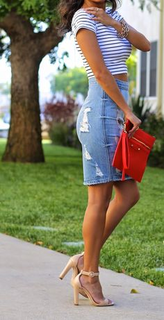 how to wear denim skirts ft. Sole Society and Lovers + Friends