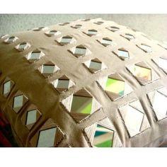 Mirror Beige Pillow Cases, Cotton Canvas Throw Pillow Covers 16X16 - Glass Maze