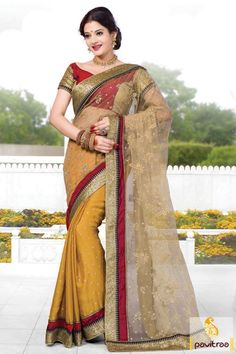 Exotic looking beige and yellow saree with sequence border is perfect to wear on festive event. The sparkling sequence border makes it really very elegance.  #saree, #sarees, #partywearsaree, #designersaree, #onlinesaree, #partysaree, #festivalsaree, #occasionsaree, #womenfashionsaree, #embroiderysaree, #pavitraa, #pavitraafashion http://www.pavitraa.in/store/party-wear-saree/ Call Us : 917698234040