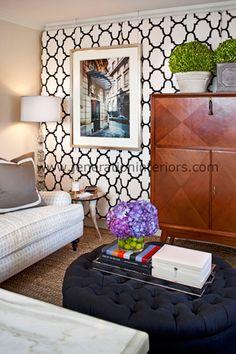 JENERATION INTERIORS, black and white geometric wallpaper, boxwood, black ottoman