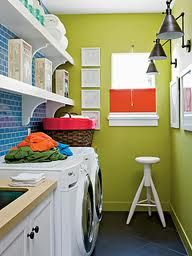 Organize my laundry room! - I like the open shelves and tiled background