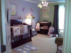 Lavender, Mint Green and Chocolate Brown Butterfly Nest Baby Nursery: I've decided on a lavender, green and chocolate brown butterfly nursery color scheme. My ideas were inspired by my dream of a space filled with magical Baby Girl Nursery Themes, Baby Room Decor, Nursery Ideas, Bedroom Ideas, Baby Bedroom, Nursery Room, Wood Nursery, Nursery Modern, Baby Bedding