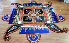 Diwali Rangoli 2015, 3 foot Jumbo Rangoli, Diwali decor, Rangoli, Acrylic rangoli, Big rangoli, Hindu floor art, Kundan rangoli, Indian Kolam by JustForElegance on Etsy