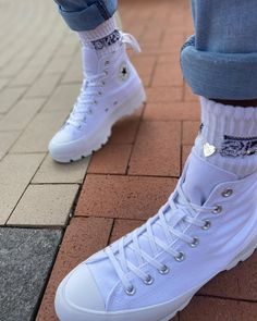 Womens Converse Chuck Taylor All Star Hi Lugged Sneaker – White - shoes sport women Galaxy Converse, Mode Converse, White Converse Outfits, Womens Converse Outfit, Converse Mid Tops, Womens White Converse, All White Shoes, White High Top Converse, Converse Logo