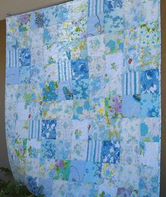 Blue vintage sheet patchwork